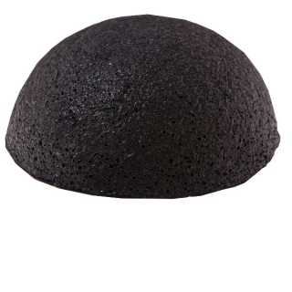 Konjac Sponge Face half ball black  / Спонж Конжак для лица полушар с бамбуковой золой / Чистка лица, уход за кожей лица, спонжик, спонж для лица