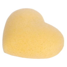 Konjac Sponge Face heart yellow / Спонж Конжак для лица серцевидная с куркумой / Чистка лица, уход за кожей лица, спонжик, спонж для лица