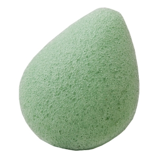 Konjac Sponge Face drop green  / Спонж Конжак для лица каплевидная с зеленым чаем / Чистка лица, уход за кожей лица, спонжик, спонж для лица